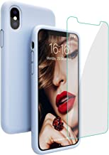 JASBON Case for iPhone X iPhone Xs Case, Liquid Silicone Case with Free Screen Protector Gel Rubber Shockproof Cover Full Protective Case for Apple iPhone Xs/X-Light Purple