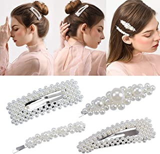 4 Pack Pearl Hair Clips for Ladies and Women Wedding Bridal Faux Pearl Wrapped Hair Pins Hair Barrettes Accessories for Thick Hair