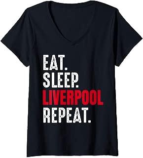 Womens Liverpool Shirt Eat Sleep Repeat V-Neck T-Shirt