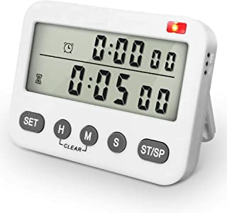 Large Display Kitchen Timer Countdown up Digital Timer,24-Hour Clock & Alarm Clock Baking Timer for Cookiing,Vibration/Flashlight,Magnetic,Stand,Battery Included