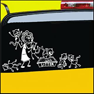 Nepa Designs Crazy Cat Lady Stick Figure Family Decal can be Applied to Any Surface Funny Vinyl Decal Sticker White in Color No Inks 100% Vinyl 8.5