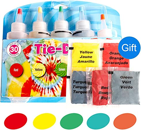 Tie-Dye Kits Neon lino y algodón ropa tintes 5 Color 1 Set ...