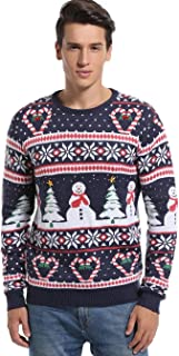 **** Men's Christmas Holiday Snowman and Tree Ugly Sweater Cute Pullover