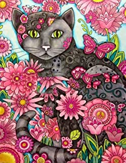 5D Full Dril Diamond Painting Flowers and Cat by Number Kits for Adults, Leyzan DIY Rhinestone Pasted Paint with Diamond Set Arts Craft Decorations (12x16inch)