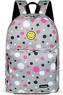 """Sac à dos étudiant 15.6 """"Laptop Kids Enfants Polka Dots Cute Smile Face Primaire Junior School Grey Bookbag Sac à dos Sac à dos Sac à dos , pour les filles"""