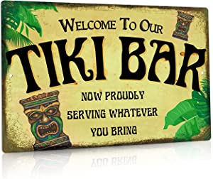 Putuo Decor Tiki Bar Decor, Retro Outdoor Wall Sign for Home Bar, Cafe Pub, Kitchen, Restaurants, 12x8 Inches Aluminum Metal Sign - Welcome to Our Tiki Bar