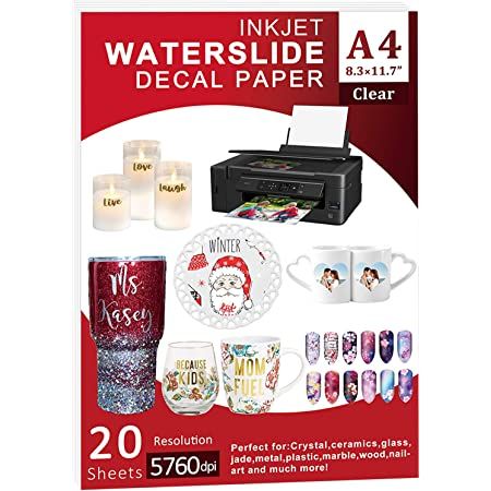 TransOurDream Tru-Waterslide Decal Paper for Inkjet Printer 20+2 Sheets, 8.3x11.7 Clear Water Slides Transfer Paper for Tumblers TRANS-016