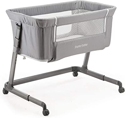 Pamobabe Bedside Sleeper,Baby Bed to Bed,Babies Crib Bed, Easy Folding Portable Crib (Light Grey)
