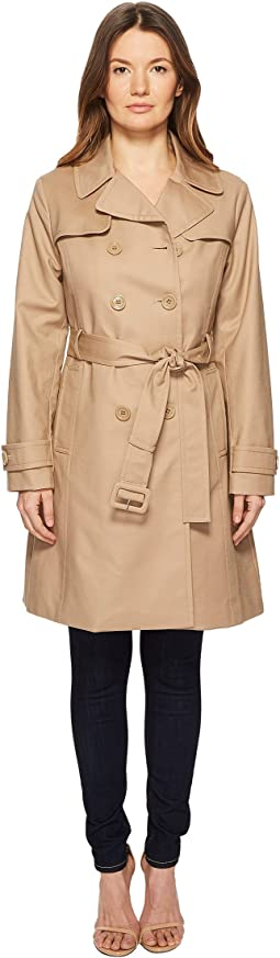 "Kate Spade New York 38"" Double Breasted Trench Coat w/ Tie Waist"