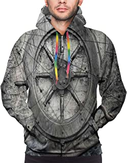 Men`s Hoodies Sweatershirt,Retro Navigation Equipment Illustration with Steering Wheel Charts Anchor Chains,