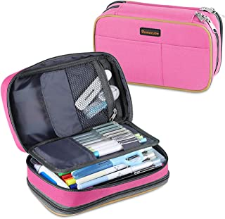 Homecube Pencil Case Big Capacity Storage Pen Bag Makeup Pouch Durable Students Stationery Two Big Pockets with Double Zipper- 8.7x6x3.2