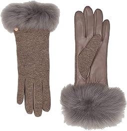 Italian Wool Blend Tech Gloves with Long Pile Sheepskin Trim