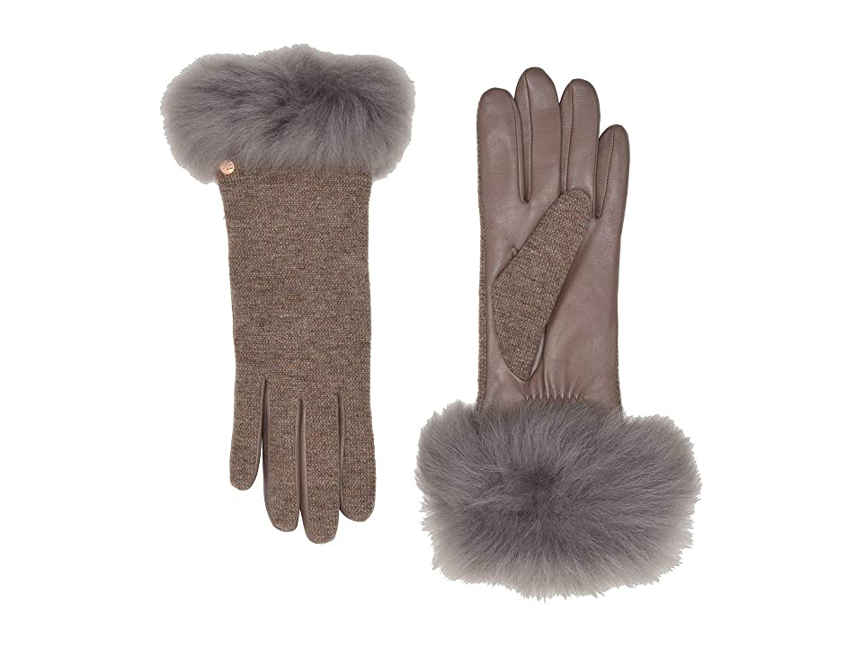UGG Italian Wool Blend Tech Gloves with Long Pile Sheepskin Trim (Stormy Grey) Extreme Cold Weather Gloves