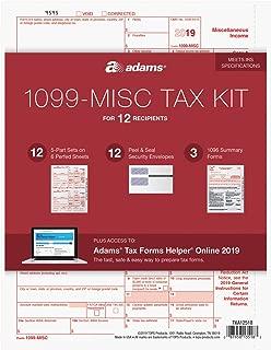 Adams 1099-MISC Kit for 2019, 5-Part Inkjet/Laser Sets for 12, 3 1096 Forms, 12 Peel & Seal Envelopes + Adams Tax Forms Helper Online (TXA12518)
