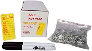 Poly Key Tag, Yellow, 250 per Box with Rings and Pens