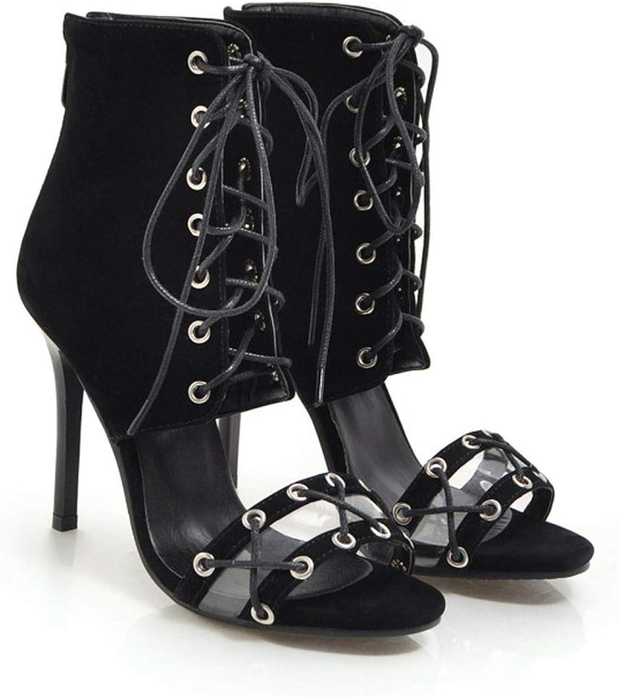 Women's Sandals Summer Fashion Flock Fish Mouth Open Toe Lace-up Fine Heel High Heel Women shoes