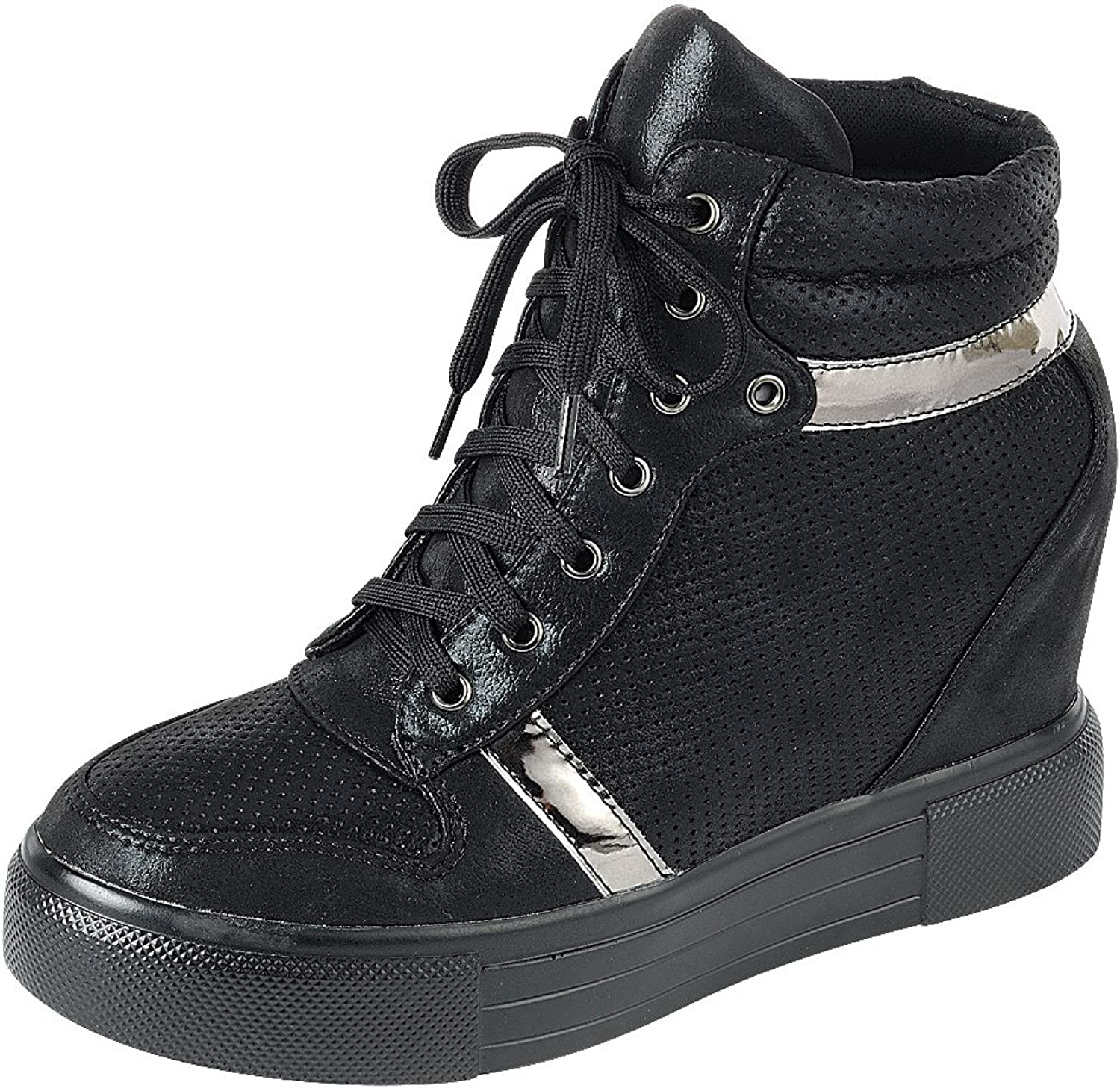 Cambridge Select Women's Closed Round Toe Lace-up Perforated Platform Fashion Sneaker Wedge