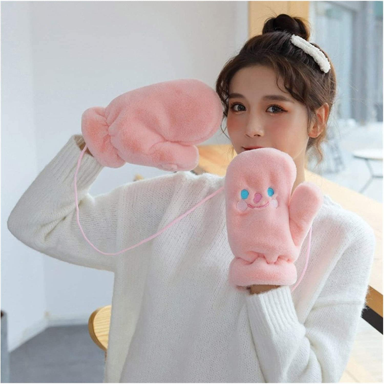 JBIVWW Women Winter Thick Plush Knit Warm Halter Mittens Female Cute Embroidery Full Fingers Cycling Glove (Color : I49 Pink)