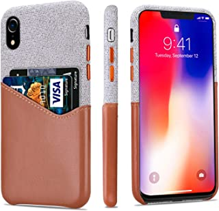 lopie [Sea Island Cotton Series] Slim Card Case Compatible for iPhone Xs Max 2018, Fabric Protection Cover with Leather Card Holder Slot Design - Light Brown