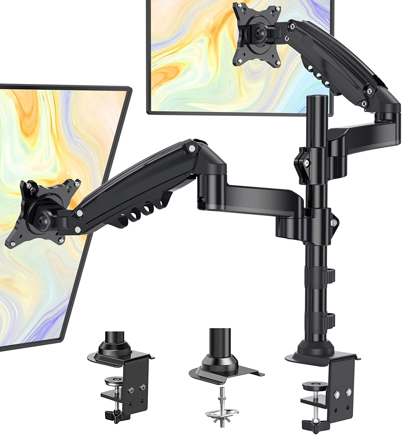 ErGear Dual Monitor Mount for Most 17-34 Inch Screens, Adjustable Gas Spring Arm Monitor Desk Mount Stand, VESA Mount 75/100mm with C Clamp, Grommet Mounting for Flat Curved Monitors up to 19.8lbs