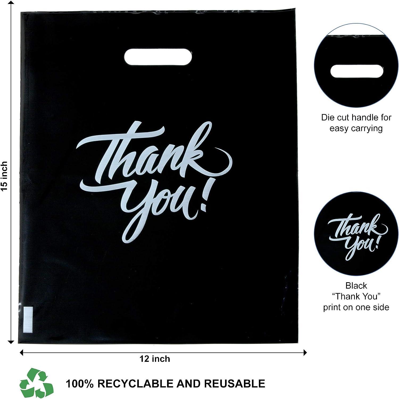 1.75 Mil Reusable Plastic Bags Favors Die Cut Handles Goodie Bags Retail Shopping Bags for Boutique InfinitePack 100 Pieces Black Thank You Merchandise Bags 16x18 Gift Bags Bulk