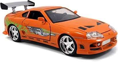 Jada Toys Fast & Furious Movie 1 Brian's Toyota Supra diecast collectible toy vehicle car, orange with decals, 1:24 scale