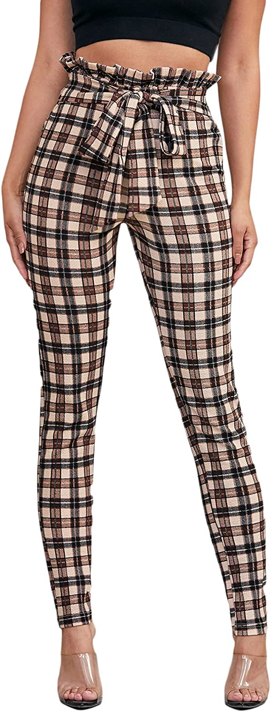 Romwe Women's Paper Bag Pants Plaid High Waist Tie Front Skinny Pants Trousers