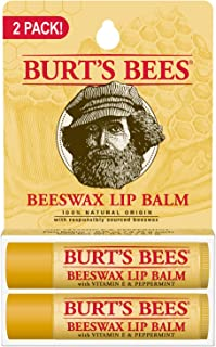 Burts Bees 100% Natural Origin Moisturizing Lip Balm, Beeswax, 2 Tubes in Blister Box