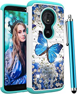 CAIYUNL for Moto G6 Play Case,Moto G6 Forge Case,Bling Glitter Studded Rhinestone Dual Layer Shockproof Hybrid Protective Women Girls Men Hard PC &TPU Phone Cover for Motorola G6 Play-A Blue Butterfly
