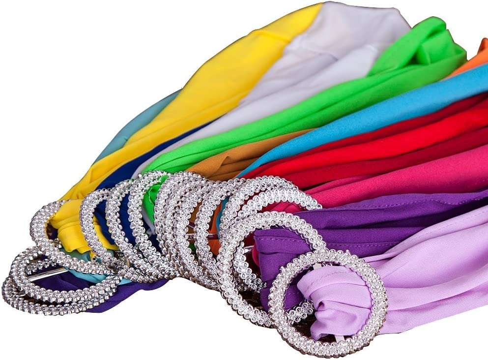 SINSSOWL 100PCS Stretch Wedding Chair Bands with Buckle Lycra Slider Sashes Bow Decorations 25 Colors … (Peach) Pink