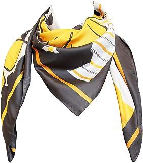 tessago Foulard da donna 100% Poliestere mis cm 90x90 Made in Italy dis 2540 var giallo