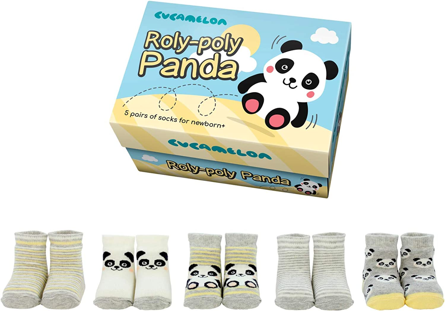 Cucamelon Roly-Poly Panda 5 Pairs of Socks Newborn + Giftboxed
