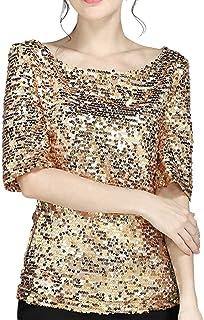 Lentejuelas de Las Mujeres Costura Suelta Casual Manga Corta Cuello Redondo Camiseta Top Performance Sudadera Camiseta Cas...