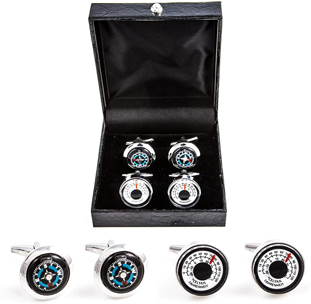 MRCUFF Compass & Thermometer 2 Pairs Cufflinks in a Presentation Gift Box & Polishing Cloth