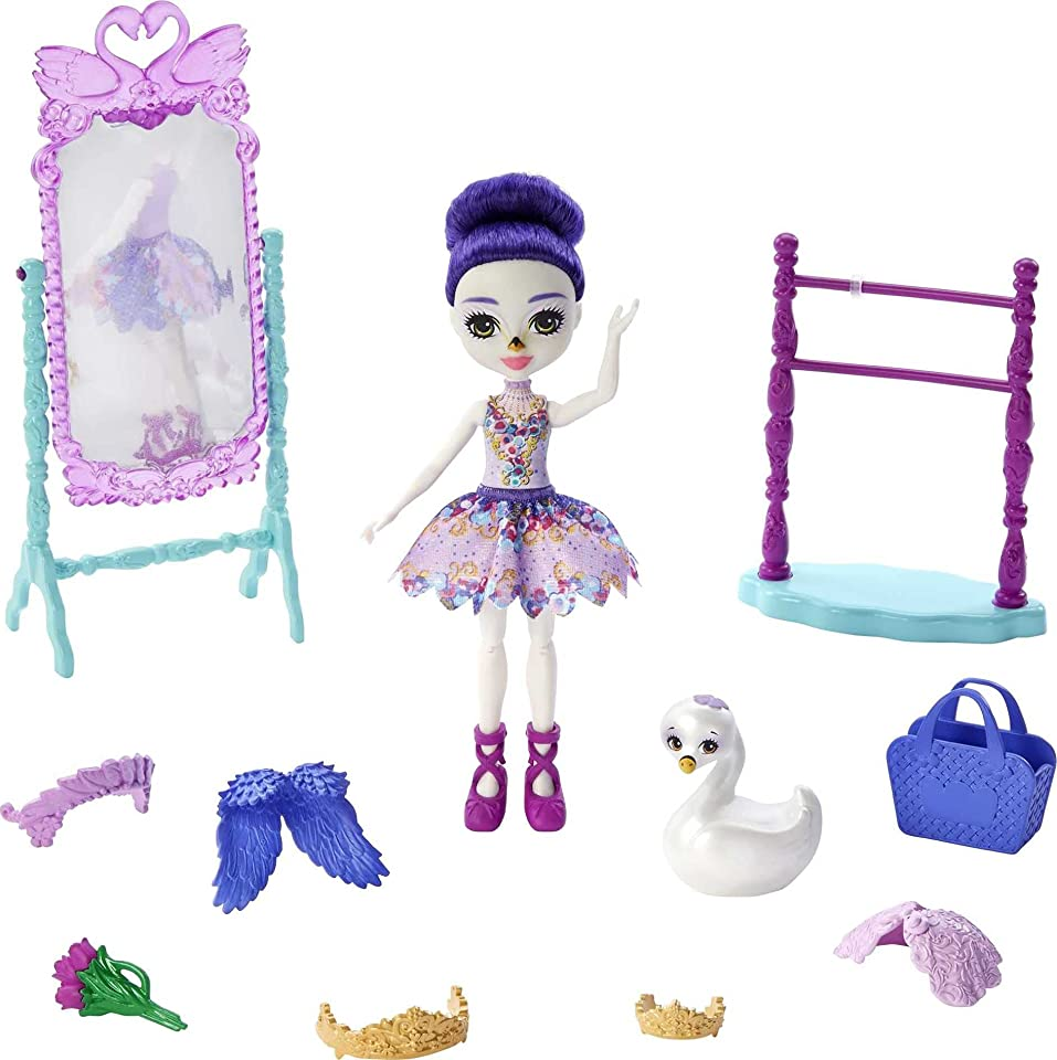 Royal Enchantimals Grande Ballet Studio Playset with Sarely Swan Doll (6-in/15.2-cm) & Animal Figure, Flippable Mirror, Perfect for Storytelling Play, Great Gift for 3 to 8 Year Old Kids