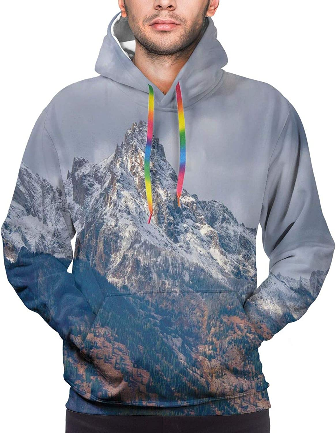 Men's Hoodies Sweatshirts,Snow Falls On The Spruce Forest Fir Trees Seasonal Nature Woods ICY Cold Xmas Time
