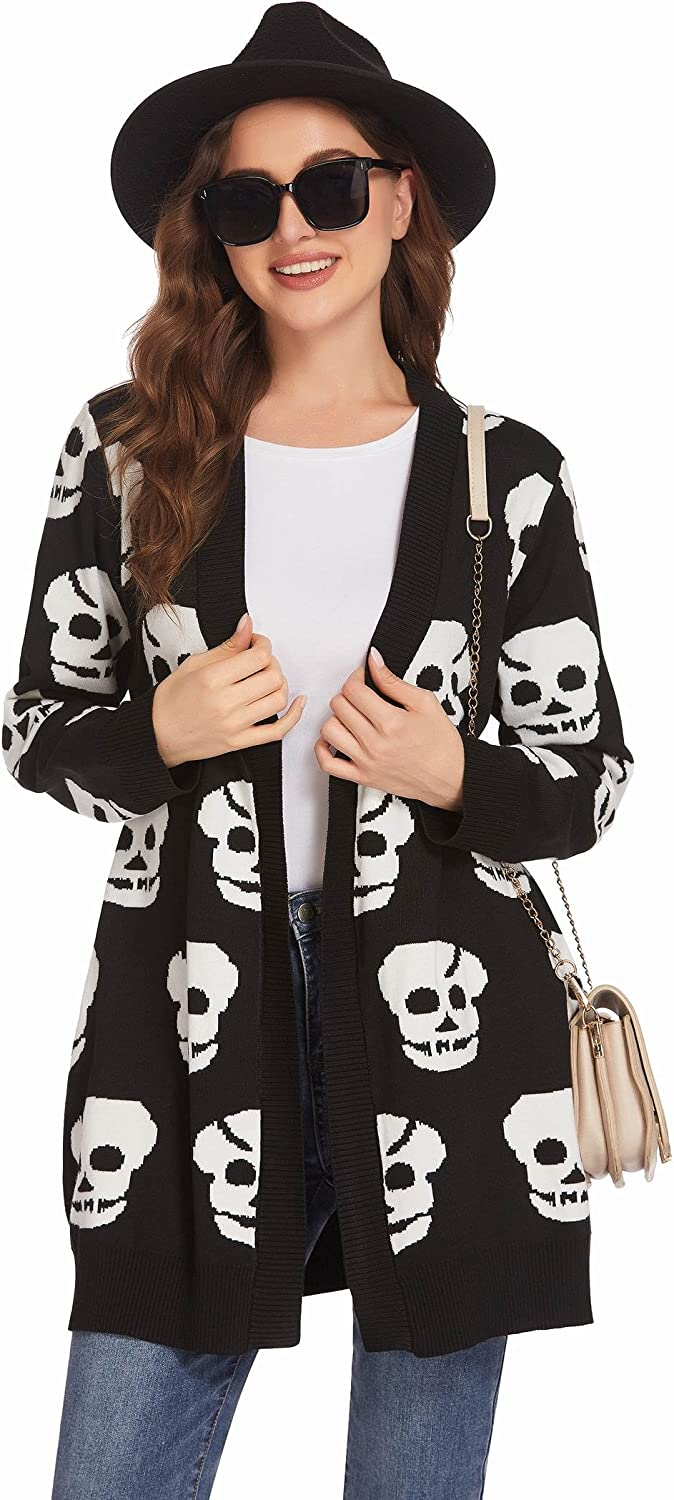 Hotouch Women Long Sleeve Cardigans Casual Open Front Cardigan Lightweight Knit Sweaters