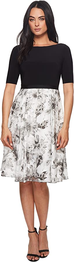 Adrianna Papell Jersey and Printed Burnout Dress
