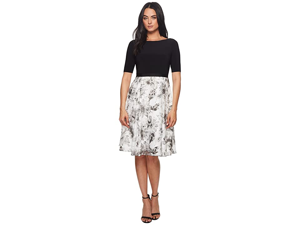 Adrianna Papell Jersey and Printed Burnout Dress (Black Multi) Women