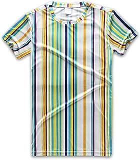 Rainbow Striped T Shirt Men Vertical Stripes Tee Crew Neck Short Sleeve Stripped