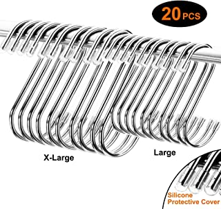 20PCS S Hooks, Sturdy and Shiny with No Sharp Edges Hanger Hooks Great for Kitchen, Plants, Shower and Outdoors