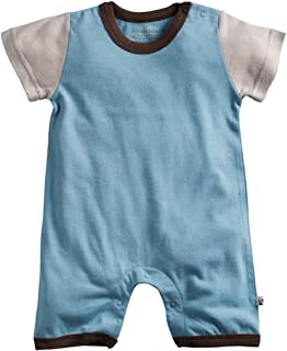 Babysoy Boys Color Block Short Sleeve Shortall Romper (Ocean, 3-6 Months)