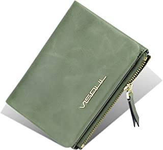 Womens Small Compact Bi-fold Genuine Leather Wallet with Coin Zip Pocket VISOUL Thin Wallet for Ladies with ID Window