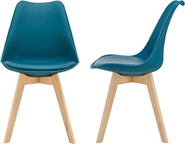[en.casa] Lot de 2 Chaises de Salle à Manger Scandinave Siège Cuisine Plastique Similicuir Hêtre Turquoise 81 x 49 x 57cm