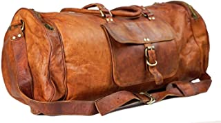 🔥 Sale! Handmade Pure Leather Duffel Travel Gym Overnight Weekend Leather Bag Classic Round Handmade Eco-Friendly Bag | Duffel Hand Luggage | with Free Shipping | Stock Limited