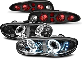 For 1998-02 Chevy Camaro LED Daytime Running Lamp Ring Projector Headlights & Tail Lights Full Bundle Set
