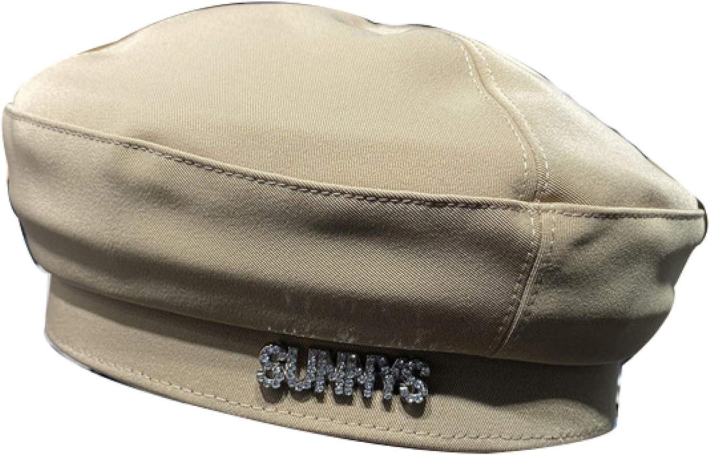 ASO-SLING Womens Letter Rhinestone Painter Hat Solid Cotton Berets Ladies Chic Sailor Newsboy Cap Comfort Artist Cabbie Hats