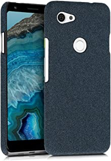 kwmobile Case for Google Pixel 3a - Protective Shockproof Back Cover in Canvas - Black Blue 47591.17