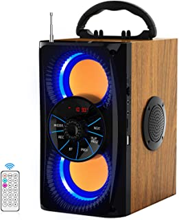 Wireless Bluetooth Speaker with lights 10W HD Sound and Bass, Wood body, Four Stereo Loud, Portable Record Speakers for Ho...
