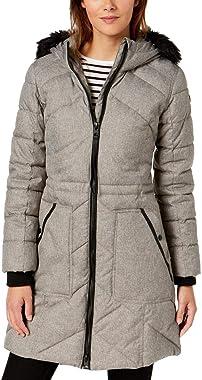 GUESS Manteau bouffant épais longueur genou avec capuche en fausse fourrure pour femme